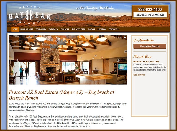 Daybreak at Bensch Ranch - Newly Redesigned Responsive Website